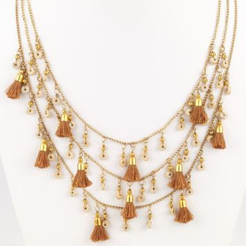 Fringe Tassel Necklace Natural