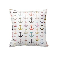 Vintage retro sailor girly floral nautical anchors pillows from Zazzle.com