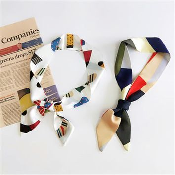 Fashion Women silk handfeel scarf with colourful geometric print / Women's bandanas headbands Hair Ribbons/ So Many Uses