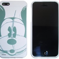 iPhone 5 Mickey Mouse Gray Sketch Disney Design on white TPU Protector Cover Case - Includes TWO Bonus Personal Charm Straps