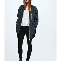 ASOS Fashion Finder | Light Before Dark Longline Bomber Jacket in Black