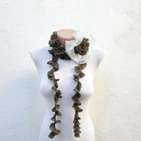 Removeable Brooch Pin Crochet Scarf Fall Fashion Frilly scarf Ruffled Scarf  Holiday Accessories  Green