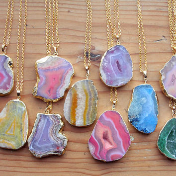 Gold Coated Agate Slice Raw Necklaces - Natural Stone Gemstone Pendant Rough Druzy Crystal Colourful Colorful Individual Green Blue Pink