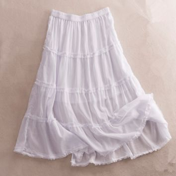 Summer new breathable elastic waist big swing skirt was thin skirts