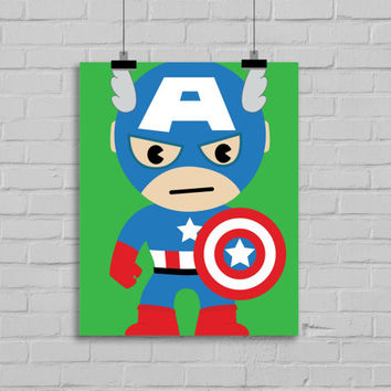 Captain America Art- Superhero Art, Instant Download , PRINTABLE 8x10, Kids Wall Art , Nursery Wall Art, Playroom Art