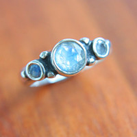 Moonstone Engagement Ring Triple Moonstone Ring Triple Moonstone Ring Sterling Silver Promise Ring June Birthstone