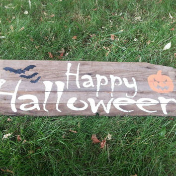 Barn Wood, Happy Halloween, sign, October, pumpkin, bats, Jack O' Lantern, Rustic wood, primitive, home decor, Autumn, Fall, pallet wood