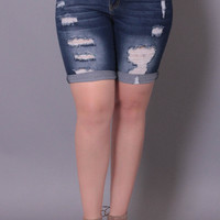 Plus Size Destroyed Jean Shorts - Dark Wash