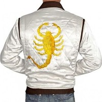 Ryan Gosling Drive Movie Golden Embroidered White Jacket - Money Back Offer.....