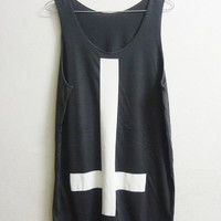 Tank Shirt Unisex Cross Tank top size M Black upside down cross tank top men women singlet sleeveless Long shirt