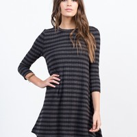 Knitted Stripe Swing Dress