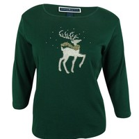Karen Scott Women's 3/4 Sleeve Studded Reindeer Knit Top