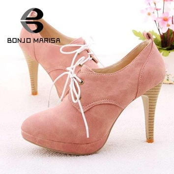 Fashion Sweety lace up Women high heel shoes for Lady  HH278 high heels & Beige,Pink,Black,Blue Pumps