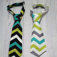 Boys Neck Tie. In Chevron, Black green White Gray teal. Birthdays, Church, Wedding, Photo Prop. Every Day wear.