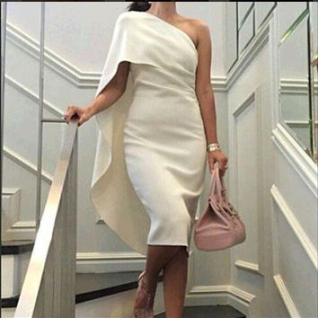 New Arrival Custom made One Shoulder Short Cocktail dresses White Sexy Party gowns