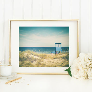 Beach printable, ocean photography, lifeguard stand, summer digital download, vintage, travel, sand dunes, beach grass, wall art, home decor