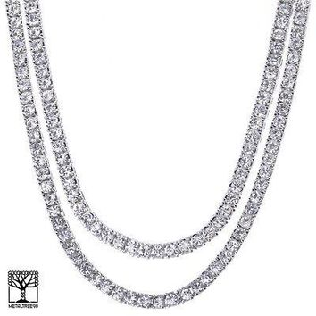 """Jewelry Kay style Men's Women's 24"""" / 26"""" Iced CZ Double Silver Plated Tennis Chain Necklace SET"""