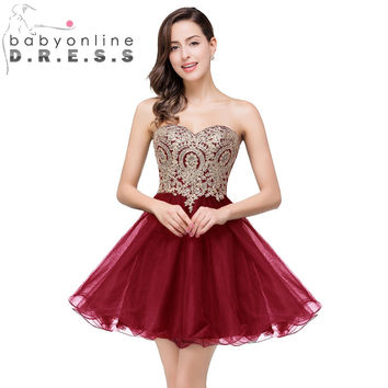 New Arrival Robe de soire Burgundy Purple Short Prom  Dresses 2016 Sweetheart Evening Dress Applique Cocktail Dresses Homecoming