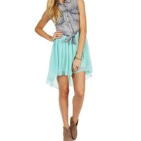 Denim/Mint Tie Front Chiffon Dress