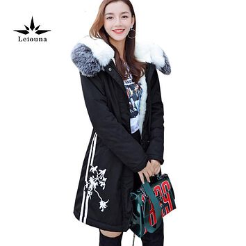 Leiouna Big Fur Collar Hooded Coat Warm Winter New Parkas Women Thick Overcoat Female Feather Outerwear Wool Blend Big Size 4xl