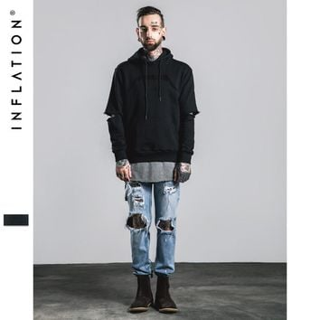 INFLATION Hip Hop Hoodies With Fleece Mens Kanye West Letter Towel Embroidery Hoodies