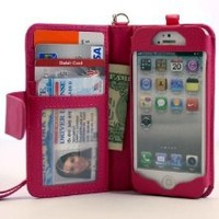 Navor iPhone Life Protective Deluxe Book Style Folio Wallet Leather Case for iPhone 5 & iPhone 5S ( Hot Pink )