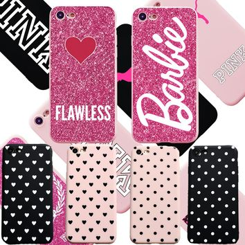 Hot Black White Heart Dots Soft TPU Case For iPhone 6 6S Plus Pink Queen Cover Silicon for iphone X 7 8 Plus 5S SE Cover Lovely