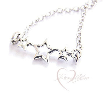 Simple Three Stars Necklace - Trio Star Necklace - Silver Star Necklace - Starring Night Necklace - Stocking Stuffers for Women - Teen Gift