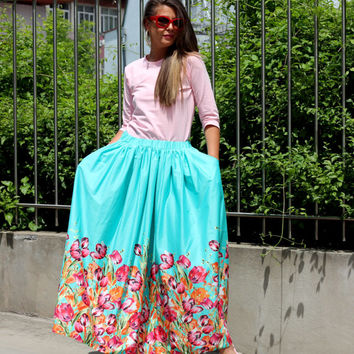 Turquoise Floral Maxi Long Cotton Party Skirt /Spring Summer Skirt/PromSkirt/Evening Skirt/Maxi skirt/Party clothing/Summer clothing