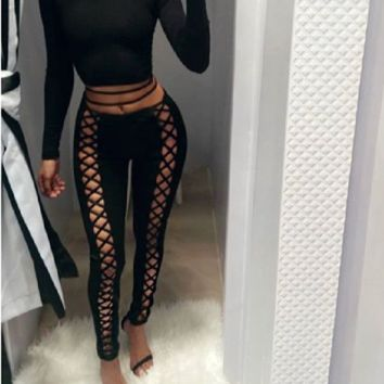Sexy Front Lace Up high Black Leggings