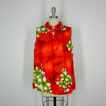 1960s Hawaiian / Blouse Tunic / Sears Hawaii / Vintage Mid-Century / Orange Floral Print / Size Large L XL Maternity