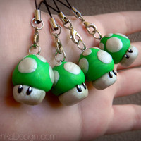 1UP Green Mushroom (Nintendo Super Mario) Charm - Polymer Clay