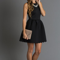 Harlow Black Fit & Flare Scuba Scallop Dress