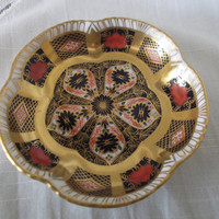 Royal Crown Derby 1128 Imari Trinket Dish 5 petal scalloped shaped dish dated 1987. Gift idea