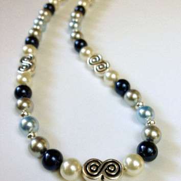 Blue Grey Pearl Necklace, Beaded Jewelry, Swarovski Crystal Necklace, Beaded Necklace