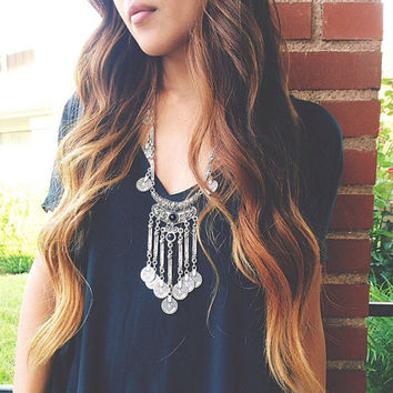 Necklaces Pendants Bohemian Boho Jewelry Antique Silver Tassels Long Carving Coins Maxi Necklace For Women