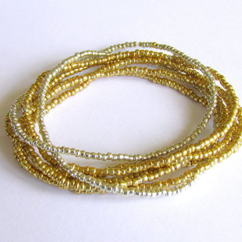 Seed Bead Stretch Bracelets, Set of Seven, Silver and Gold Beaded Jewelry