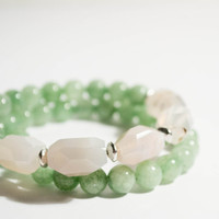 FREE SHIPPING - White Agate Mint Green Dyed Jade Beaded Bangle Bracelet