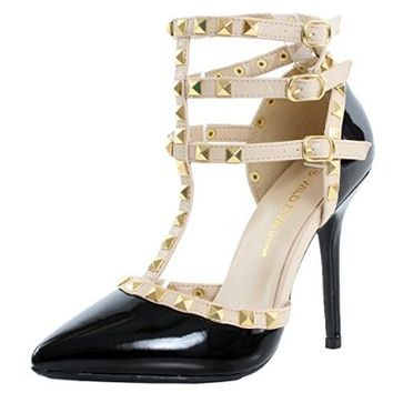 Adora55 Gladiator D'Orsay Multi Metal Stud Ankle Strap Stiletto Heel Pumps