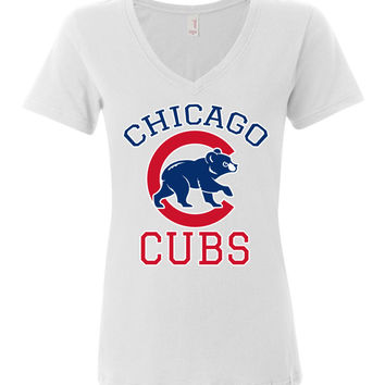 Chicago cubs World series Anvil Ladies Featherweight V-Neck Shirt