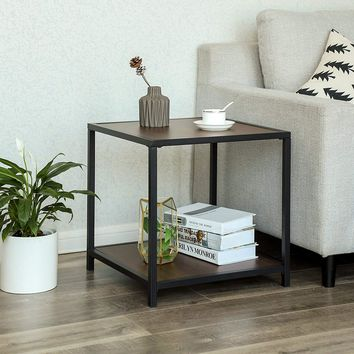 Metal Frame End Table with Wooden Top and Bottom Shelf, Brown and Black