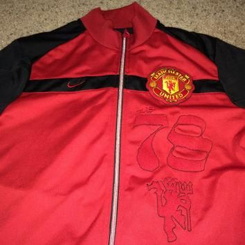 Sale!! Vintage Nike Manchester United FC Soccer track Jacket MUFC Football Jersey Rare
