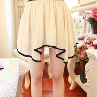Kawaii Lolita Irregularity Hem Chiffon Skirt - Beige, Green or Orange from Tobi's Finds