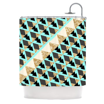 "Nika Martinez ""Glitter Triangles in Gold & Teal"" Blue Brown Shower Curtain"