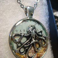 Silver Octopus over Map  Steampunk Pendant Necklace (1964)