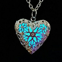 Blue Glow Heart Necklace, Glow in the Dark Heart, Aqua Glowing Necklace, Anniversary Gift for Her, Mother's Day Gift, Anna's Frozen Heart