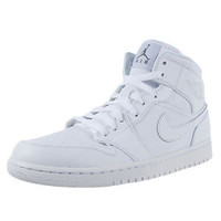NIKE AIR JORDAN 1 MID BASKETBALL SHOES WHITE WHITE COOL GREY 554724 100