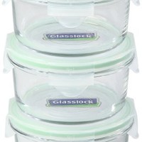 Kinetic GoGREEN Glassworks Series 6 Piece Round Oven Safe Glass Food Storage Container Set 13-Ounce Each (3 Containers and 3 Lids) 01334