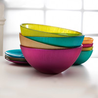 Circle Glass Colorful Bowl - Set of Four | zulily