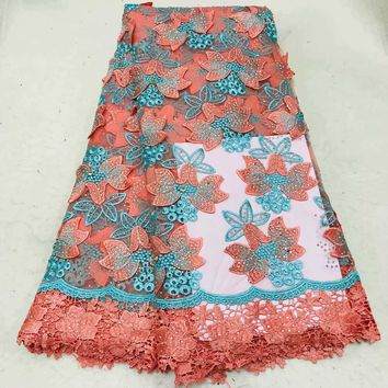 Free shipping (5yards/pc) High quality beaded African French net lace fabric in Peach and green for party dress